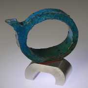 """Out of the Blue"" Teapot  (2014)  copper, enamel, pewter, 5"" w x 2"" d x 6"" h"